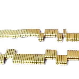 Hematite nemagnetice, placate aurii, cu 2 orificii, 6x3x1mm 1 buc