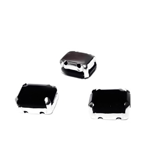 Margele montee rhinestone, sticla, dreptunghiulare, negre, 10x8x5mm 1 buc