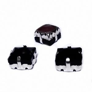 Margele montee rhinestone, sticla, patrate, negre, 10.5x10.5x7mm 1 buc