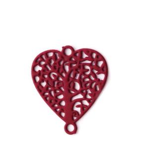 Conector/link otel inoxidabil 430, bordo mat, inima cu copacul vietii, 14.5x13x0.5mm 1 buc