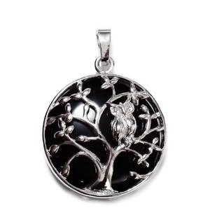 Pandantiv argintiu inchis, copacul vietii cu bufnita, cu cabochon onix, 32x27x9mm 1 buc