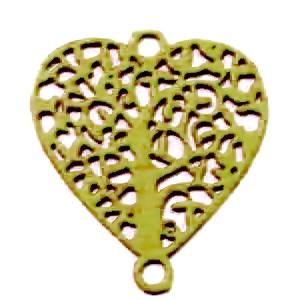 Conector/link otel inoxidabil 430, auriu mat, inima cu copacul vietii, 14.5x13x0.5mm 1 buc