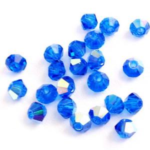Margele Preciosa biconice Capri Blue AB - 3mm 1 buc