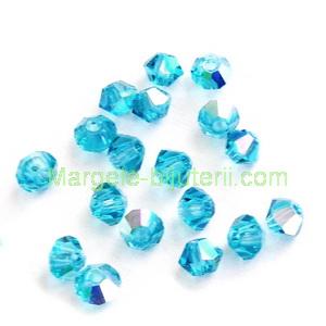 Margele Preciosa biconice Blue Zircone AB - 3mm 1 buc