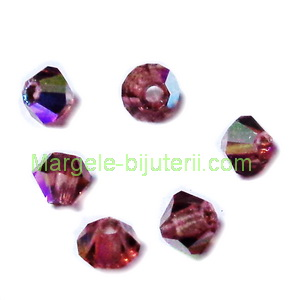 Margele Preciosa biconice Light Burgundy AB - 3mm 1 buc
