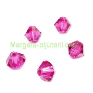 Margele Preciosa biconice Fushsia - 4mm 1 buc
