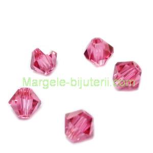 Margele Preciosa biconice Indian Pink - 4mm 1 buc