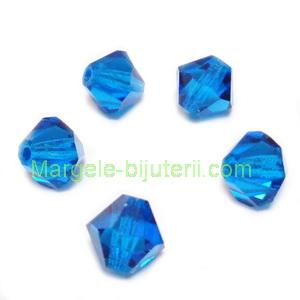 Margele Preciosa biconice Capri Blue - 6mm 1 buc