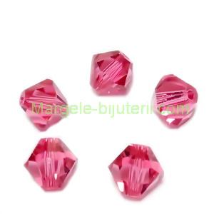 Margele Preciosa biconice Indian Pink - 6mm 1 buc