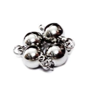 Inchizatoare magnetica, argintiu inchis, 14x8mm cu zala simpla de 4x0.6mm 1 set