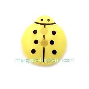 Nasturi plastic galben, gargarita  13x12x4.5mm 1 buc