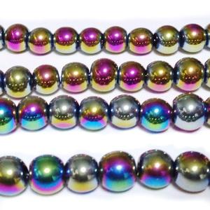 Margele sticla, multicolore, AB, 8mm 10 buc