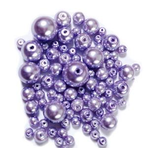 Mix perle sticla, mov deschis, 4-12 mm 25 g