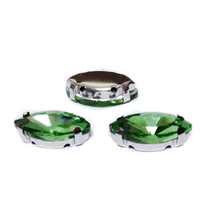 Margele montee rhinestone, sticla, ochi de cal, verde deschis, 18x9x5mm 1 buc
