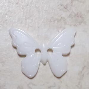 Nasturi plastic albi, fluturas 17x22.5x2mm 1 buc