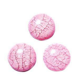 Cabochon plastic cu baza colorata cu email roz, 20x5mm 1 buc
