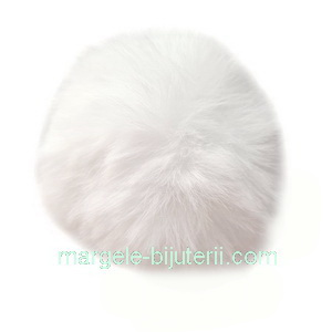 Pandantiv rotund din imitatie blana de iepure, cu elastic pt. prindere, alb, 55~74mm 1 buc
