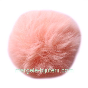 Pandantiv rotund din imitatie blana de iepure, cu elastic pt. prindere, roz-somon, 55~74mm 1 buc