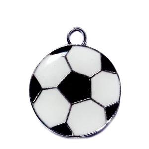 Pandantiv metalic, emailat alb cu negru, minge de fotbal, 24x20x2.5mm 1 buc