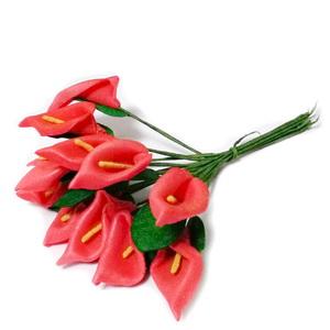 Buchet 12 cale rosii, floare burete si codita sarma, 8-9cm 1 set