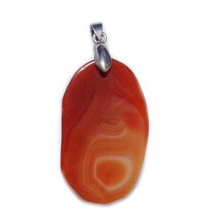 Pandantiv agata rosu-coral cu agatatoare,  60x27x5 mm(agata 45x27mm) 1 buc