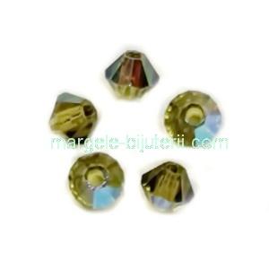 Margele Preciosa biconice Olivine AB - 3mm 1 buc