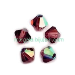 Margele Preciosa biconice Burgundy AB - 4mm 1 buc