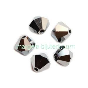 Margele Preciosa biconice Jet Hematite full - 6mm 1 buc