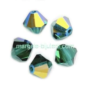 Margele Preciosa biconice Emerald AB - 6mm 1 buc