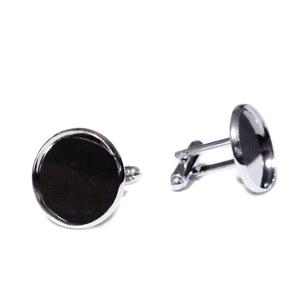 Baza cabochon, buton, argintiu inchis, 19.5x20x20mm, interior 18mm 1 buc