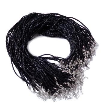 Snur imitatie piele neagra, impletita, 45x0.3cm 1 buc