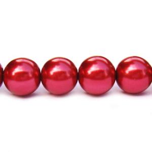 Perle sticla rosu inchis, 12 mm 10 buc