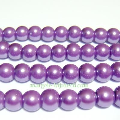 Perle sticla mov 8 mm 10 buc