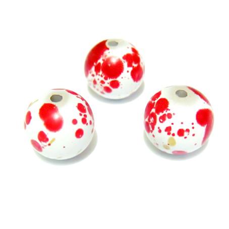 Margele plastic albe cu pete rosii, 12 mm 1 buc