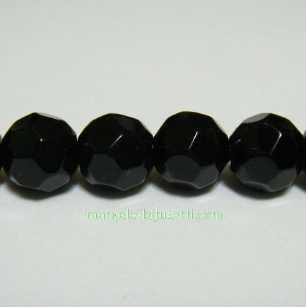 Margele din sticla multifete negre 8mm 1 buc