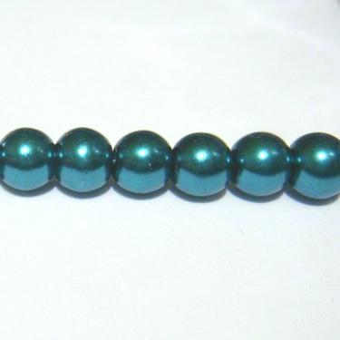 Perle sticla, verde-smarald, 6mm 10 buc