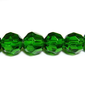 Margele din sticla multifete, verde inchis, 8mm 1 buc