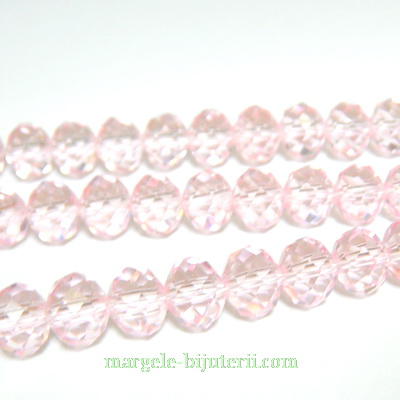 Margele sticla multifete roz 8x6mm 1 buc