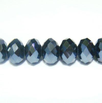 Margele sticla multifete negre-hematite, 8x6mm 1 buc