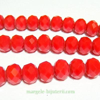 Margele sticla multifete rosii-coral 8x6mm 10 buc