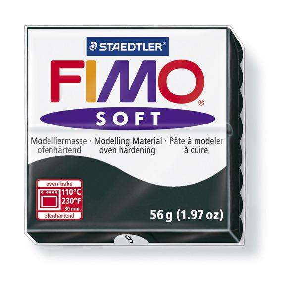 Plastelina fimo soft 56g cod cul. 9 negru 1 buc