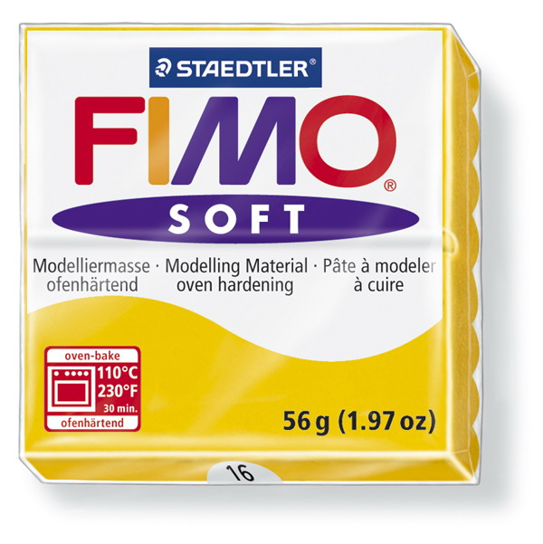 Plastelina fimo soft 56g cod cul.16 galben 1 buc