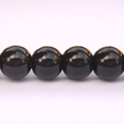 Perle sticla, negre, 8 mm 10 buc
