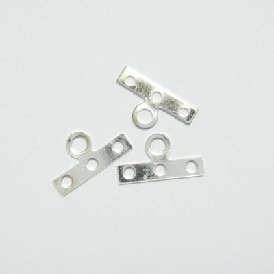 Accesorii capat multisir argintii 14x3mm cu 3 orif. 10 buc