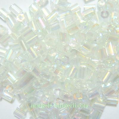 Margele tubulare albe cu reflexe, 3-4mm 20 g
