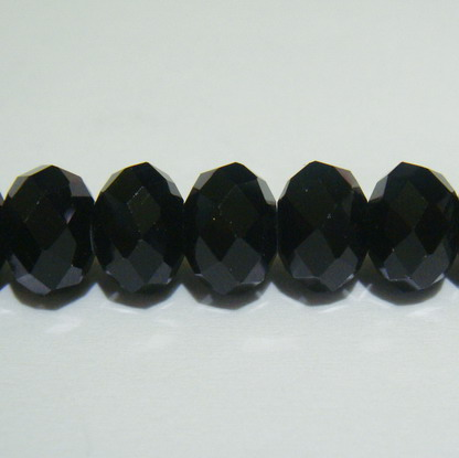 Margele sticla multifete negre 10x8mm