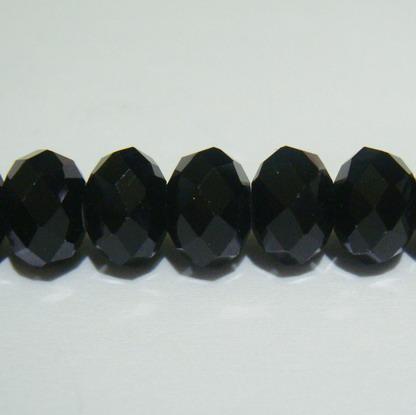 Margele sticla multifete negre 10x8mm 1 buc