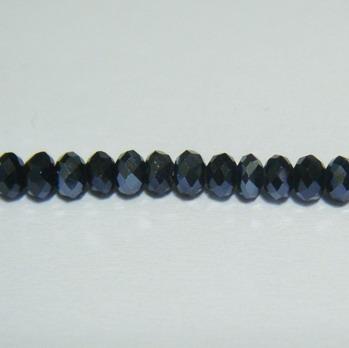 Margele sticla multifete negre metalizate 3x2mm 10 buc