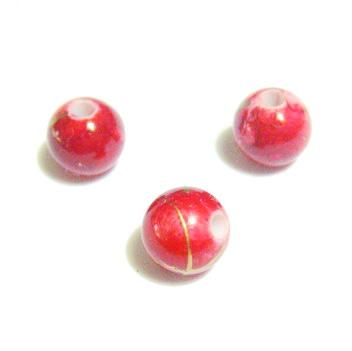 Margele plastic rosii cu auriu 6mm 10 buc