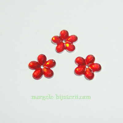 Aplice plastic floricele rosii 11mm 10 buc